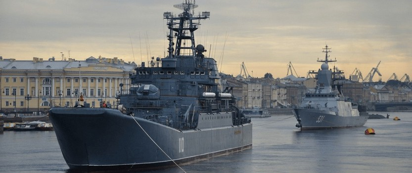 Парад военных кораблей в акватории Невы