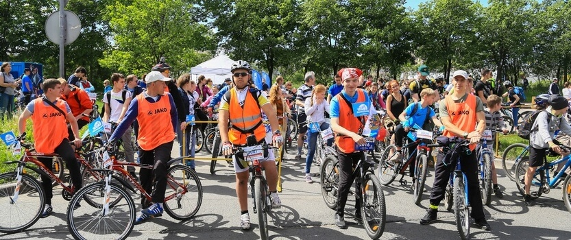 Bicycle festival in the Sosnovka park