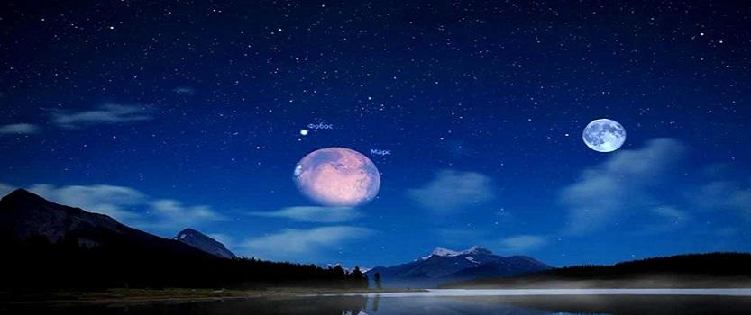 Сближение луны с Марсом и другими планетами.